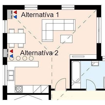 Umiestnenie vobývačkovo-kuchynskej časti - viac alternatív